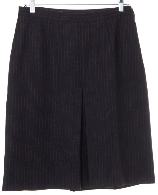 BURBERRY Gray Red Striped Above the Knee Straight Skirt S Measured Like A 10