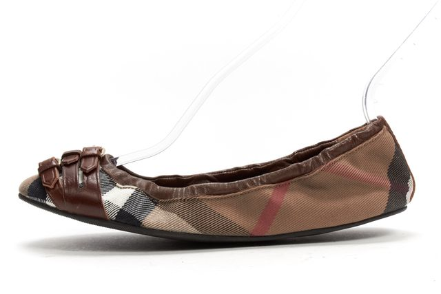 BURBERRY Brown Nova Check Canvas Leather Buckle Elastic Ballet Flats