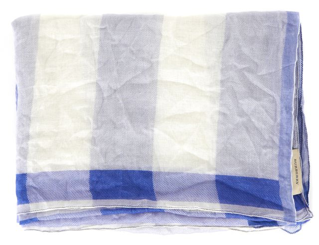 BURBERRY Blue White House Check Sheer Long Scarf
