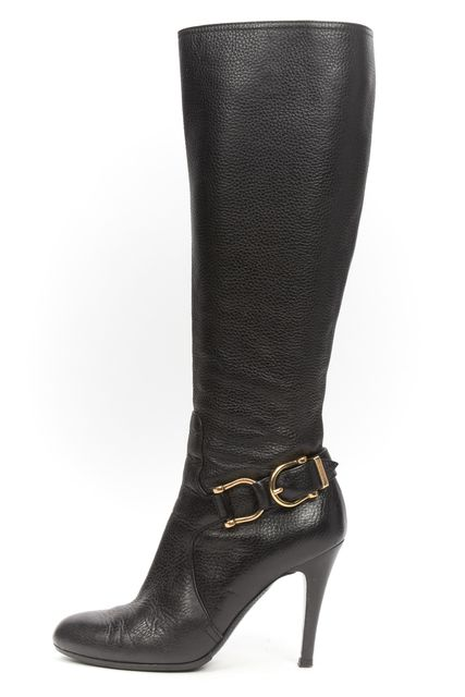 BURBERRY Black Pebbled Leather Buckle Harness Detail Knee High Boots