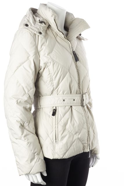 BURBERRY Light Gray Goose Down Filled Hooded Belt Waist Zip Puffer Jacket
