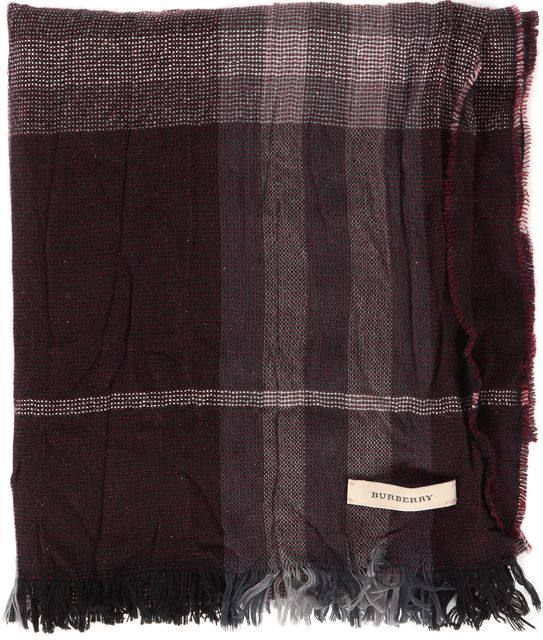 BURBERRY Black Red Gray Silver House Check Fringe Trim Scarf