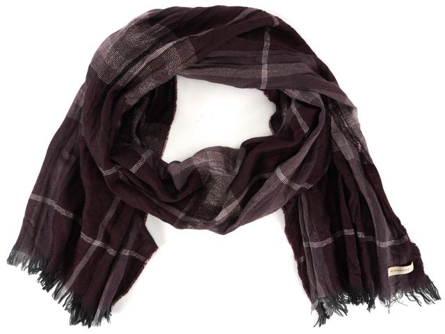 BURBERRY Burgundy Red Black Silver House Check Fringe Trim Scarf