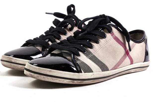 BURBERRY Beige Canvas Black Patent Leather Cap Toe Nova Check Sneakers