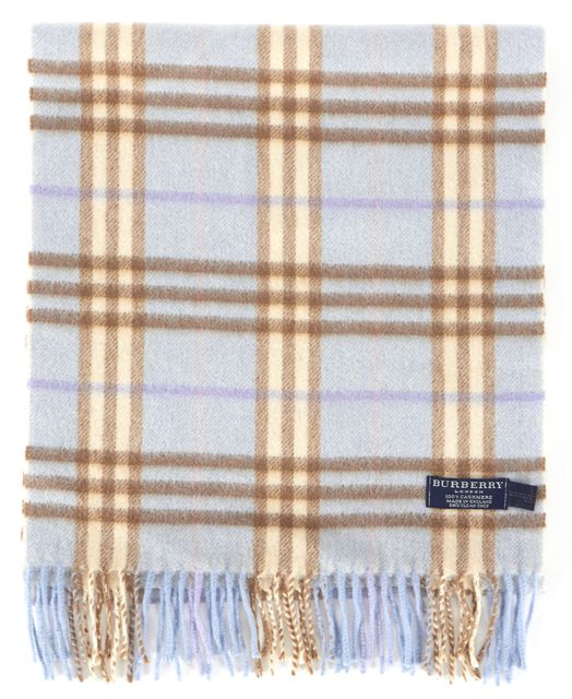 BURBERRY Light Blue Brown House Check Cashmere Fringe Trim Scarf