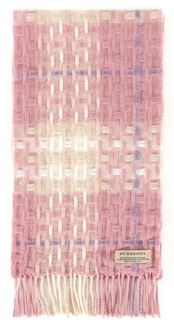 BURBERRY Pink Ivory Silver Metallic Merino Wool House Check Scarf