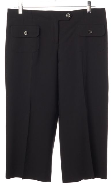 BURBERRY Black Pleated Pocket Front Cropped Trouser Dress Pants 10