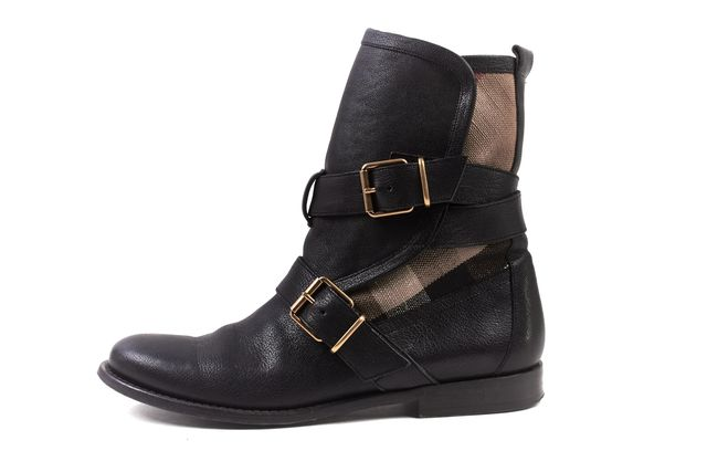 BURBERRY Black Beige Leather Nova Check Canvas Ankle Boots