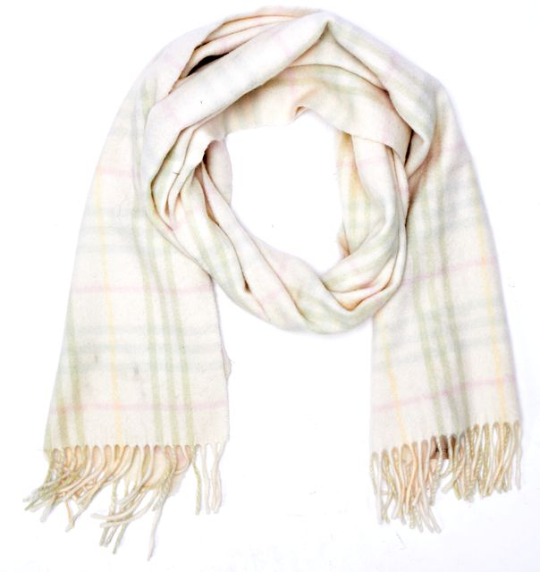 BURBERRY Ivory Pink Green House Check Cashmere Lambswool Fringe Trim Scarf