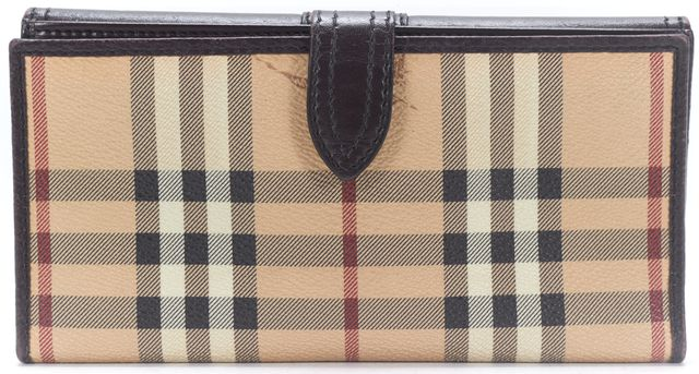 BURBERRY Beige House Check Coated Canvas Brown Leather Wallet
