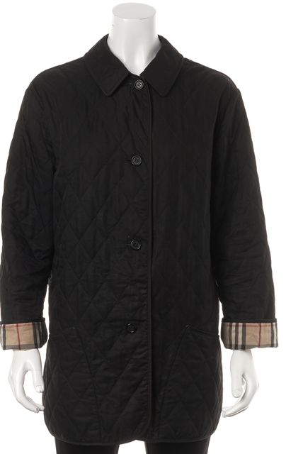 BURBERRY Black Plaid and Check Lined Light-Weight Quilted Basic Jacket