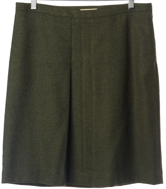 BURBERRY Olive Green Wool Straight Skirt