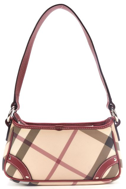 BURBERRY Beige Red Nova Check Coated Canvas MInI Shoulder Bag