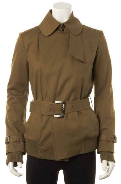 BURBERRY Beige Hook & Eye Closure Pocket Front Belted Basic Jacket