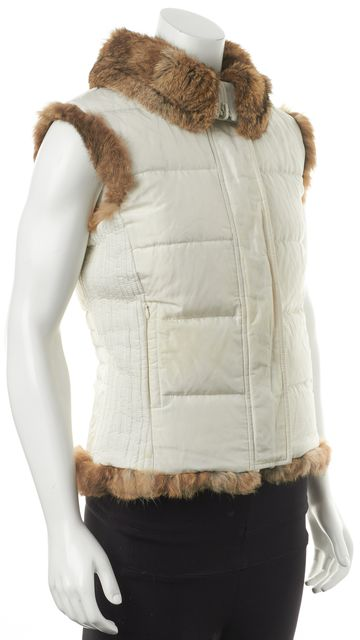 BURBERRY White Rabbit Fur Lined Zip-Up Puffer Vest