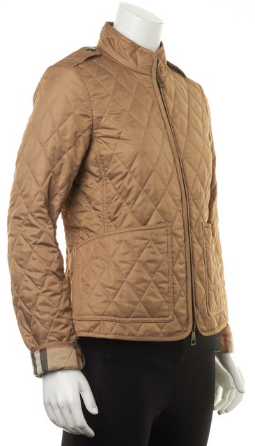 BURBERRY Tan Brown House Check Lined Quilted Spring Fall Jacket