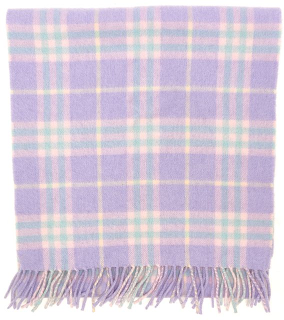 BURBERRY Purple Pink Blue Cashmere House Check Fringe Trim Scarf