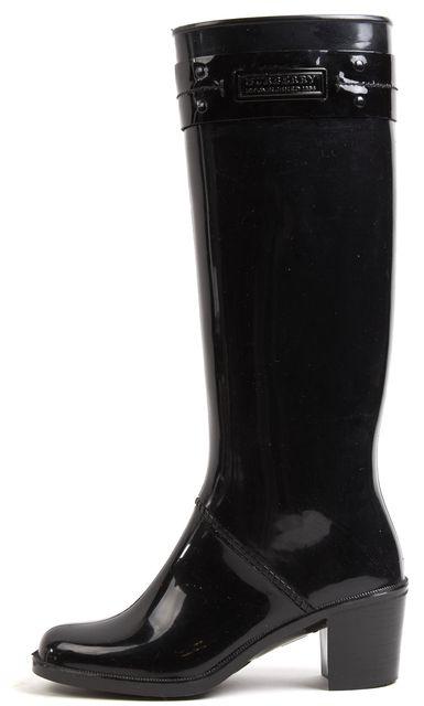 BURBERRY Black Patent Rubber Knee High Heel Rain Boots