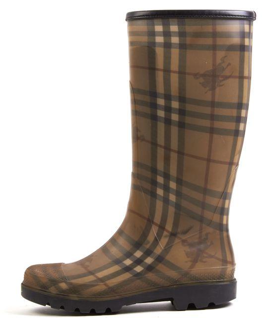 BURBERRY Beige Haymarket Check Rubber Mid Calf Rain Boots
