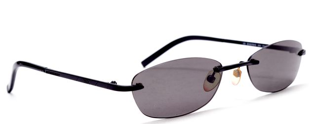 BURBERRY Black Rimless Metal Frame Oval Sunglasses