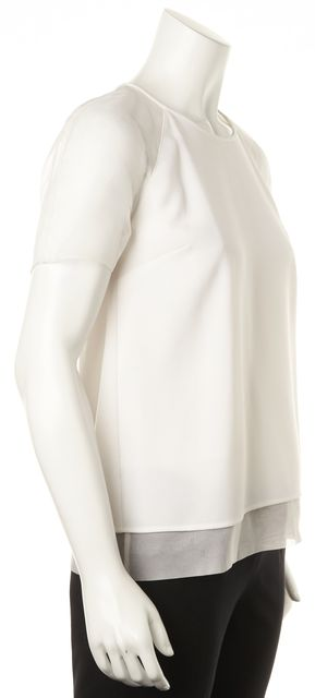 BURBERRY White Sheer Silk Short Sleeves & Trim Blouse
