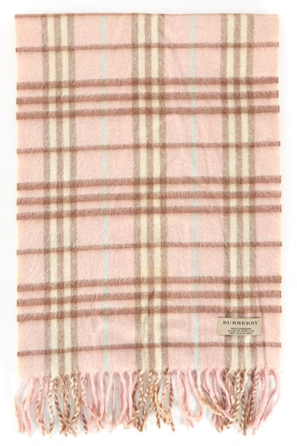 BURBERRY Pink Beige Housecheck Fringe 100% Cashmere Scarf