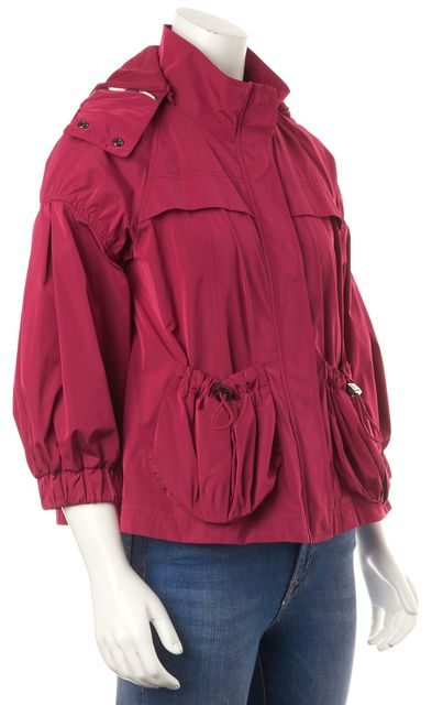 BURBERRY Fuchsia Pink Hooded Blouson Raincoat Jacket