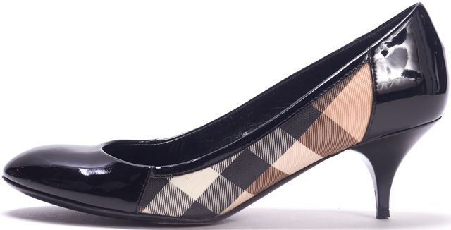 BURBERRY Black Patent leather Coated Canvas Plaid Round Toe Heels