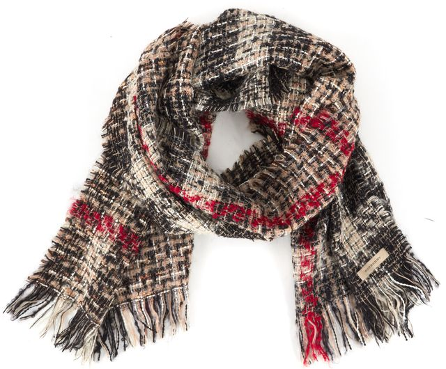 BURBERRY Beige Black Red Signature Plaid Fringe Tweed Long Scarf