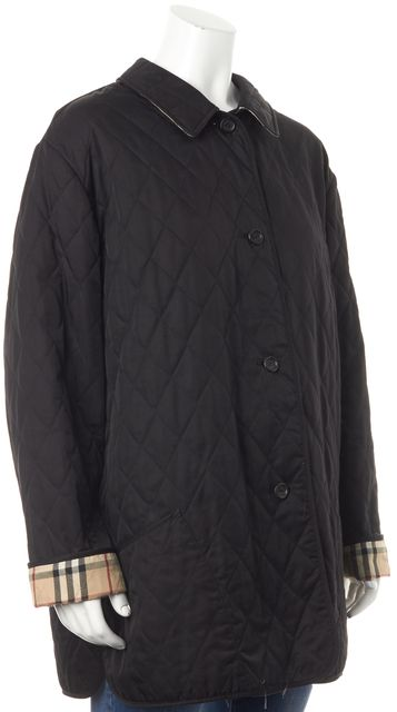 BURBERRY Black Quilted House Print Basic Jacket Fits like L
