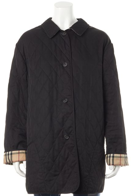 BURBERRY Black Quilted House Check Lined Basic Jacket