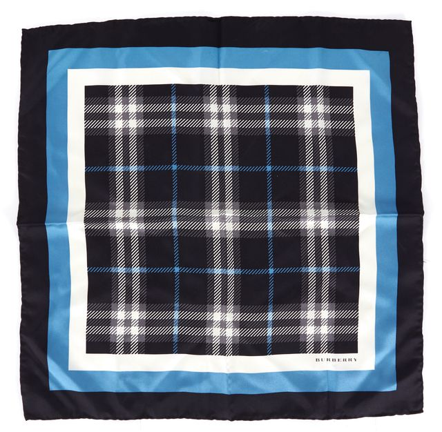 BURBERRY Black Blue White House Check Silk Square Scarf