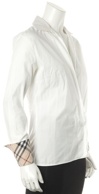 BURBERRY White Casual Deep V-Neck Plaid House Print Cuff Sleeve Blouse