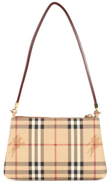 BURBERRY Beige Brown Haymarket Plaid Coated Canvas Pochette Shoulder Bag