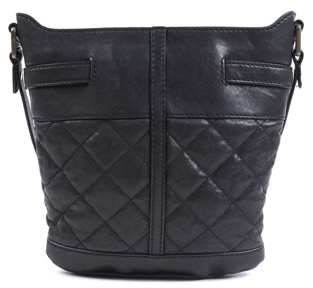 BURBERRY Black Quilted Leather Crossbody Bucket Bag