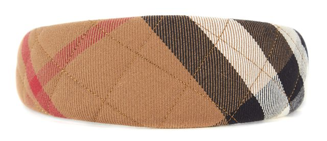 BURBERRY Beige Red Black House Check Quilted Canvas Headband
