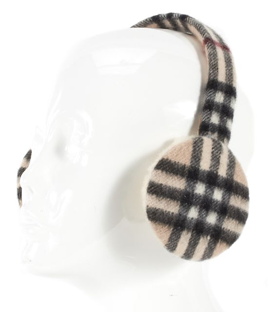 BURBERRY Beige Black Red House Check Cashmere Shearling Trim Ear Muffs