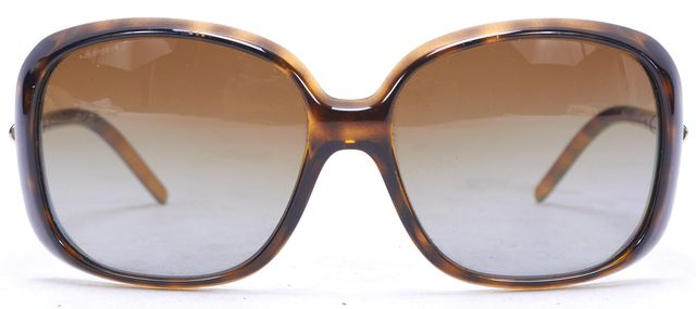 BURBERRY Brown Oversized Square Frame Polarized Lens Sunglasses w Case
