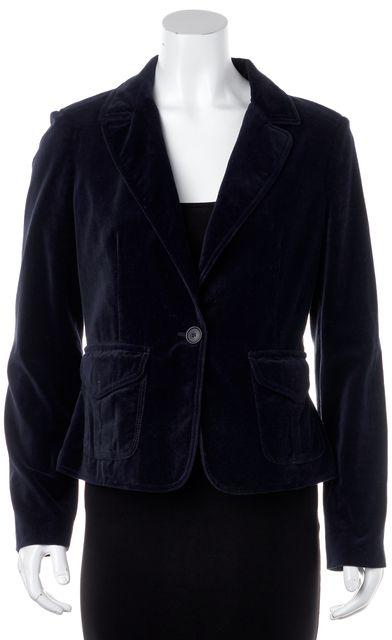 BURBERRY Navy Blue Velvet Classic Blazer