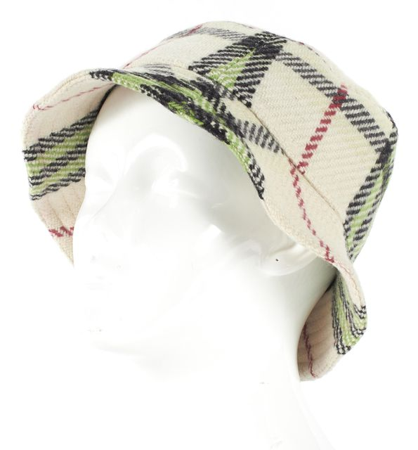 BURBERRY Beige Green Red House Check Wool Bucket Hat