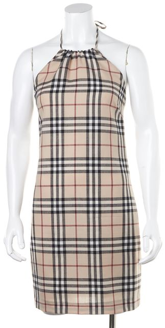 BURBERRY Beige Multi House Check Printed Wool Halter Sheath Dress