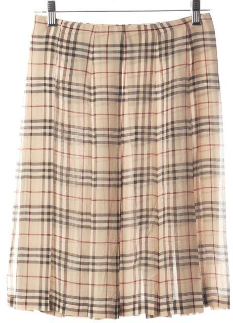 BURBERRY Beige House Print Plaids & Checks Silk A-Line Pleated Skirt