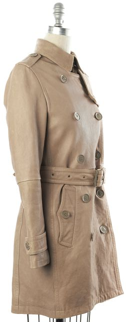 BURBERRY Tan Leather Trench Jacket