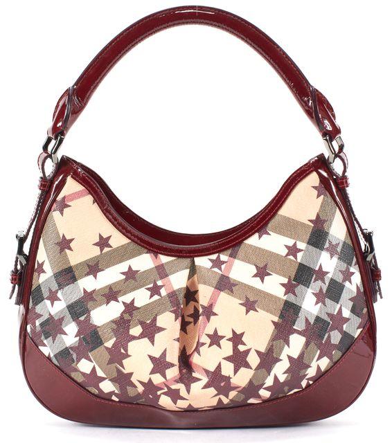 BURBERRY Red Beige Nova House Check Star Print Coated Canvas Zip-Up Shoulder Bag