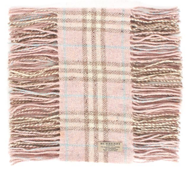 BURBERRY Pink Plaids & Checks Wool Thin Fringe Scarf