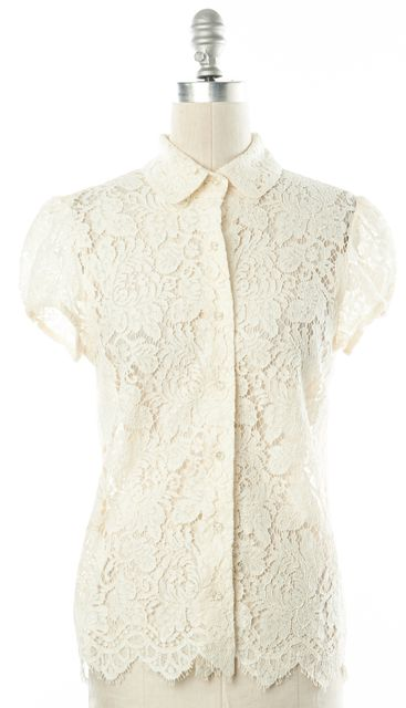BURBERRY LONDON Ivory Lace Button Down Shirt Blouse