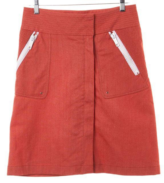 BURBERRY Red White Zipper Trim A-Line Skirt