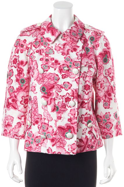 BURBERRY Pink White Green Floral Print Linen Basic Double Breasted Jacket