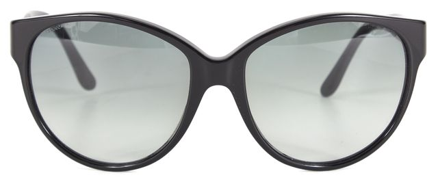 BURBERRY Black Acetate Gradient Lens Oversized Round Sunglasses