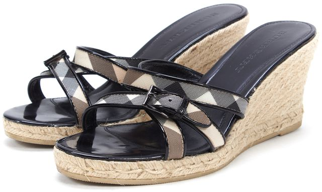 BURBERRY Beige Black House Check Coated Canas Espadrille Wedges